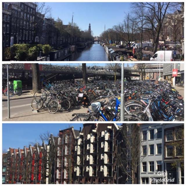A trio of photos from Amsterdam: A canal, lots of parked bicycles and a row of buildings.
