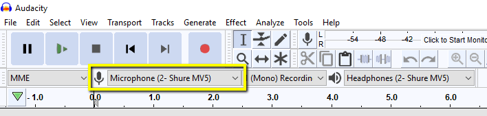 Audacity's mic selection is shown