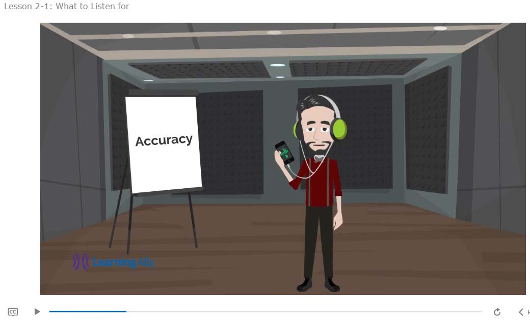 From the Listener Training - What to listen for - Accuracy