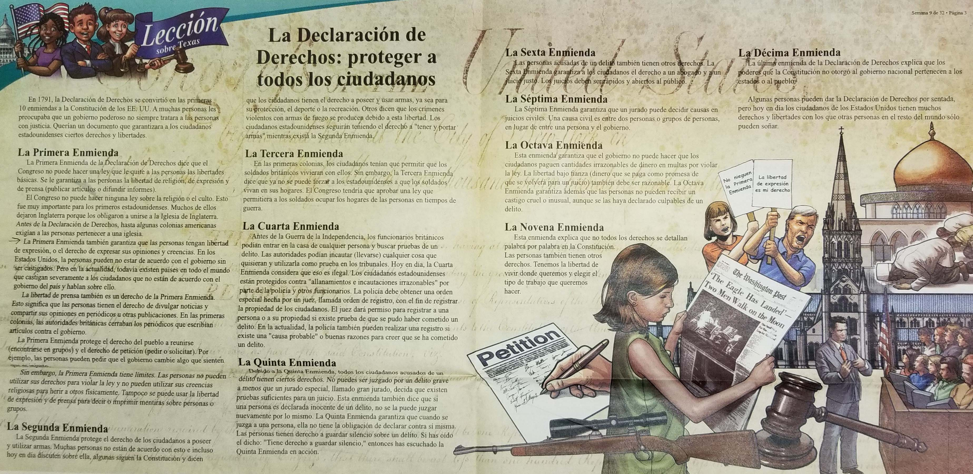 Spanish-language Weekly Reader pages discussing the Bill of Rights