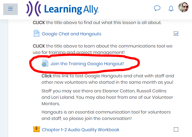 Screen shot of the Training Center lesson on Google Chat with link to the Hangout